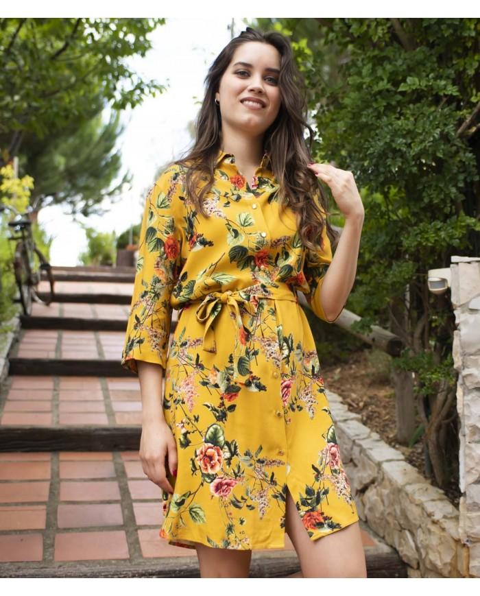 Vestido Floral Com Botões